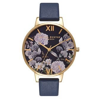Olivia Burton Enchanted Garden Blue Leather Strap Watch - Product number 2216426
