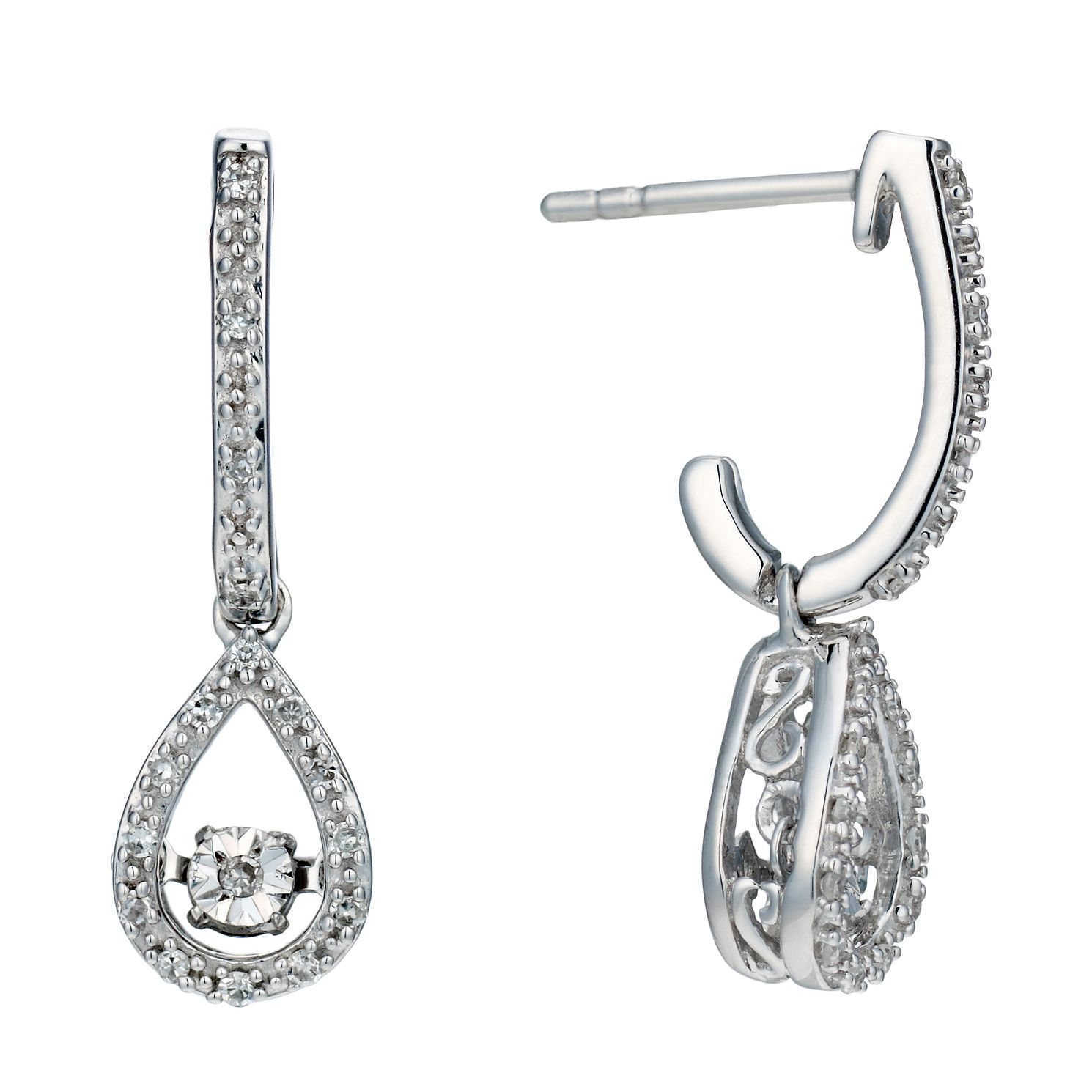 Sterling Silver 10 Point Diamond Pear Drop Earrings - Product number 2218100