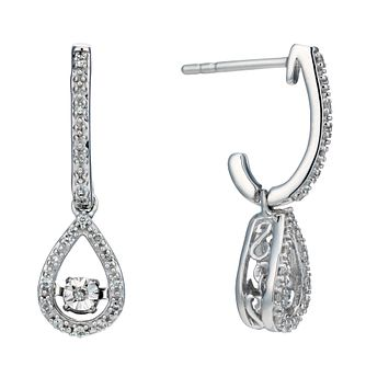 Sterling Silver 0.10ct Total Diamond Pear Drop Earrings - Product number 2218100