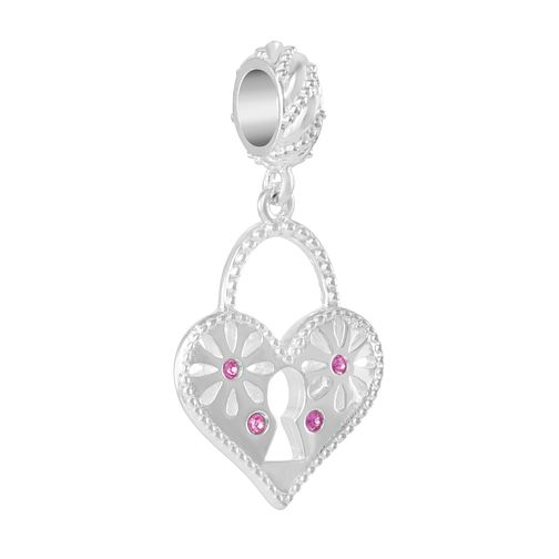 Chamilia Heart Lock Charm with Fuschia Swarovski Crystal - Product number 2219042