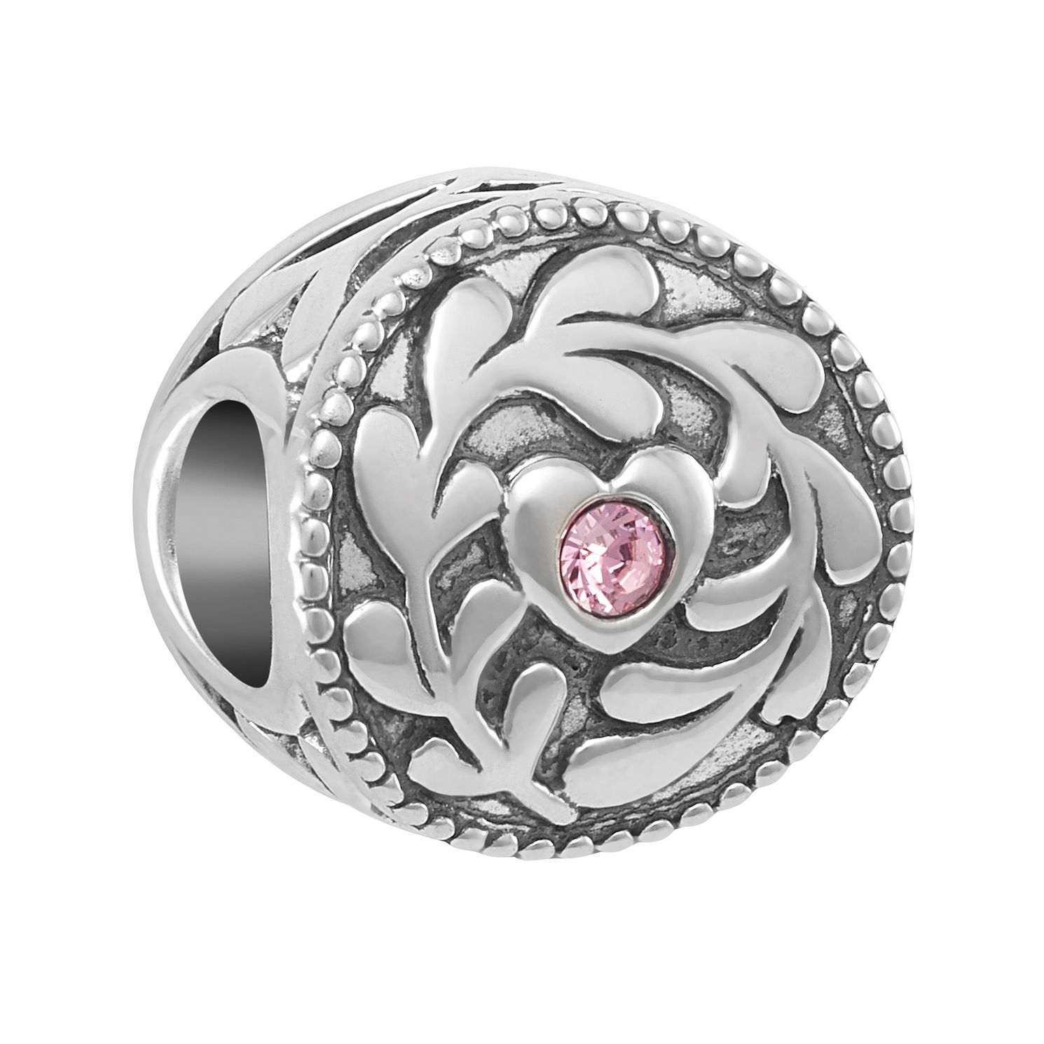 Chamilia Vine Swirl Heart Charm with Pink Swarovski Crystal - Product number 2219433