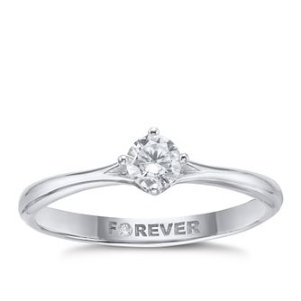 18ct White Gold 1/4ct Solitaire Forever Diamond Ring - Product number 2223341