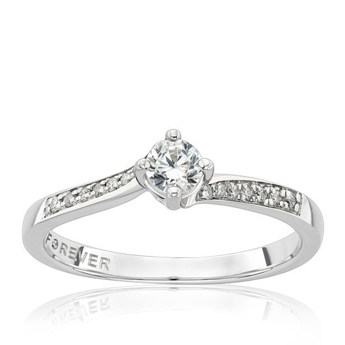 Platinum 1/4ct Solitaire Forever Diamond Ring - Product number 2224003