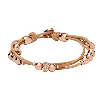 Fossil Rondel rose gold tone stone set nude wrist wrap - Product number 2225271