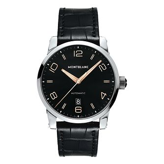 Montblanc Timewalker men's black leather strap watch - Product number 2225417