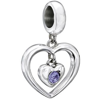 Chamilia Sterling Silver Crystal Purple Heart Bead - Product number 2225735