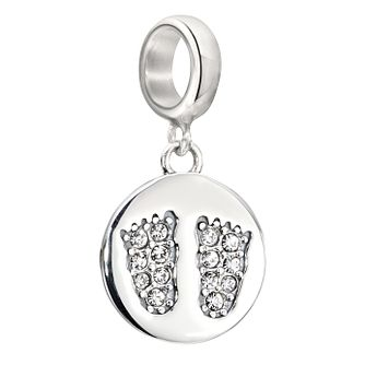 Chamilia Footprints silver & Swarovski crystal charm bead - Product number 2226200