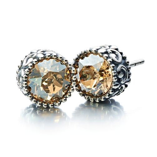 Chamilia silver & Swarovski golden crystal stud earrings - Product number 2227010
