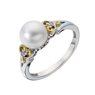 Sterling Silver & 9ct Gold Pearl & Diamond Ring - Product number 2227444