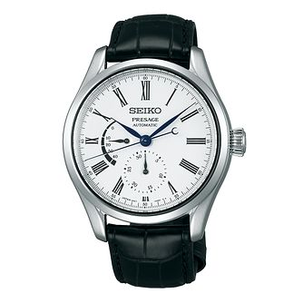 Seiko Presage Men's Black Leather Strap Watch - Product number 2227703