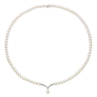 9ct Yellow Gold Freshwater Pearl  & Cubic Zircona Necklace - Product number 2227924