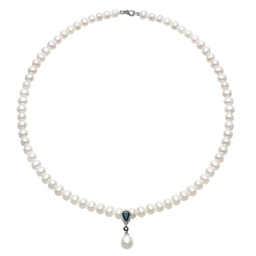 9ct White Gold Pearl Diamond & Sapphire Vintage Necklace - Product number 2227975