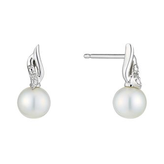 9ct White Gold Pearl And Diamond Twist Stud Earrings - Product number 2227983