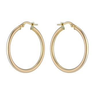 9ct Yellow Gold 25mm Hoop Earrings - Product number 2230305