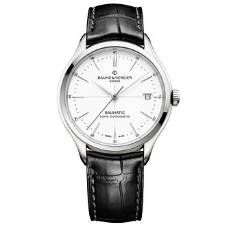 Baume & Mercier Clifton Baumatic Men's Leather Strap Watch - Product number 2230720