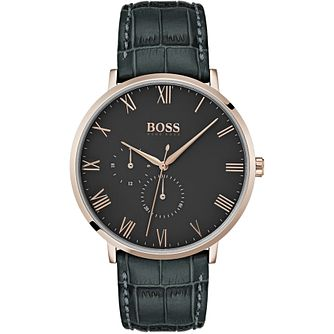 BOSS William Men's Black Leather Strap Watch - Product number 2231247