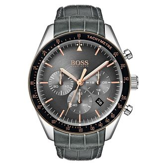 BOSS Trophy Men's Grey Leather Strap Watch - Product number 2231263