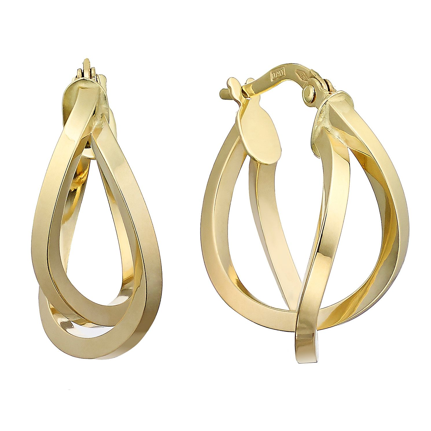 9ct Yellow Gold Double Row Twist 15mm Hoop Earrings - Product number 2231573
