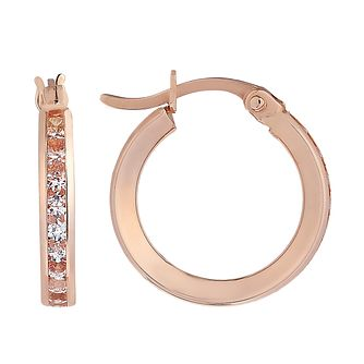 9ct Rose Gold Channel Set Cubic Zirconia 16mm Hoop Earrings - Product number 2231735
