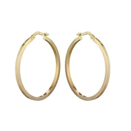 9ct yellow gold plain round creole hoop earrings 35mm - Product number 2232448