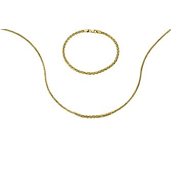 9ct yellow gold spiga necklace and bracelet set - Product number 2232618