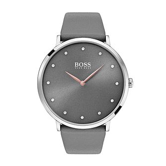 Hugo Boss Jillian Ladies' Stone Set Grey Leather Strap Watch - Product number 2235765