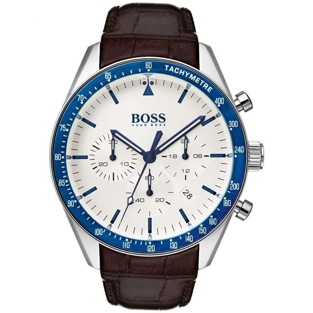 BOSS Trophy Men's Brown Leather Strap Watch - Product number 2236117