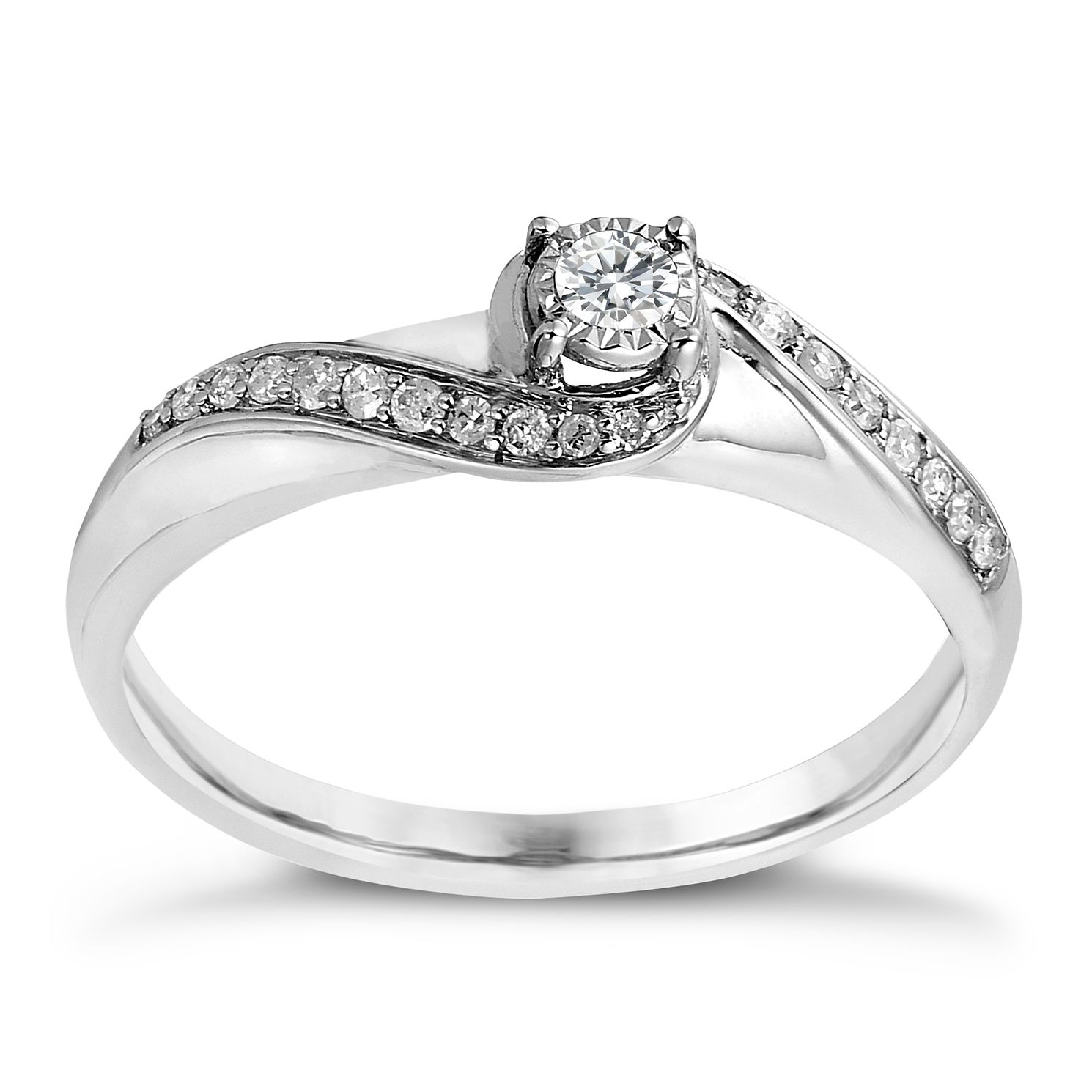 9ct White Gold 0.17ct Total Diamond Illusion Solitaire Ring - Product number 2240394