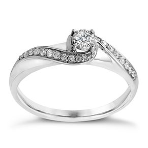 9ct white gold 0.17ct illusion diamond solitaire ring - Product number 2240394
