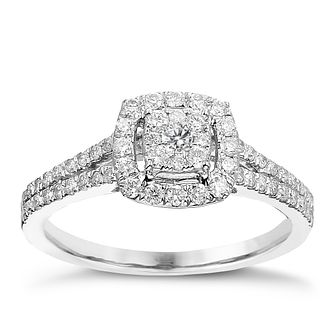 9ct White Gold 1/2ct Diamond Cushion Halo Cluster Ring - Product number 2241498