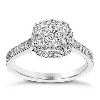 9ct White Gold 0.50ct Total Diamond Double Halo Ring - Product number 2242095