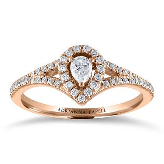 Adrianna Papell 14ct Rose Gold 0.30ct Diamond Pear Halo Ring - Product number 2243490