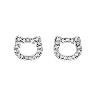Karl Lagerfeld Klassic K Rhodium Plated Stud Earrings - Product number 2247291