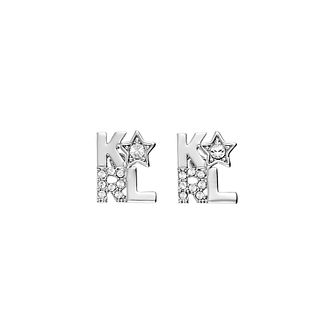 Karl Lagerfeld Klassic K Star Rhodium Plated Stud Earrings - Product number 2247321