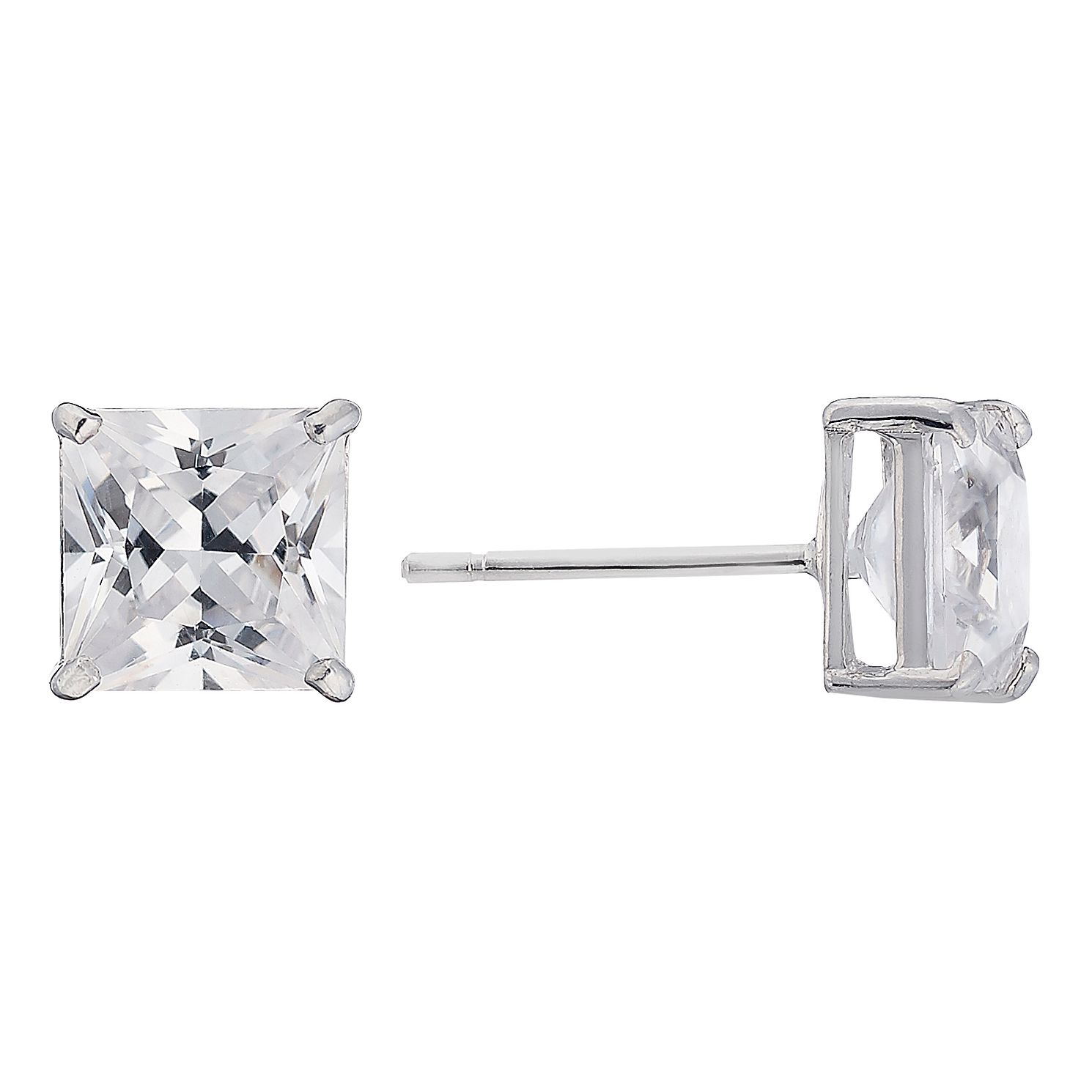 9ct White Gold Cubic Zirconia Square 6mm Stud Earrings - Product number 2247348