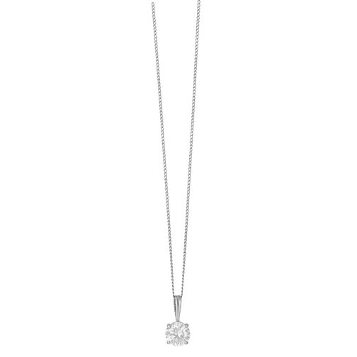 9ct white gold 5mm round cubic zirconia pendant - Product number 2247364