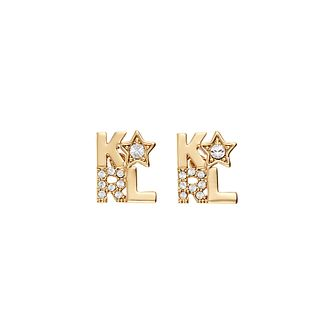 Karl Lagerfeld Klassic K Star Gold Plated Stud Earrings - Product number 2247372