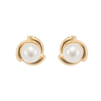 9ct yellow Gold Cultured Freshwater Pearl flower Earrings - Product number 2247534