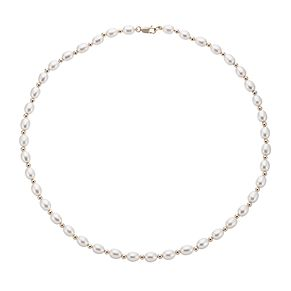 9ct Gold Cultured Freshwater Pearl 5.5-6mm Bead Bracelet - Product number 2248042