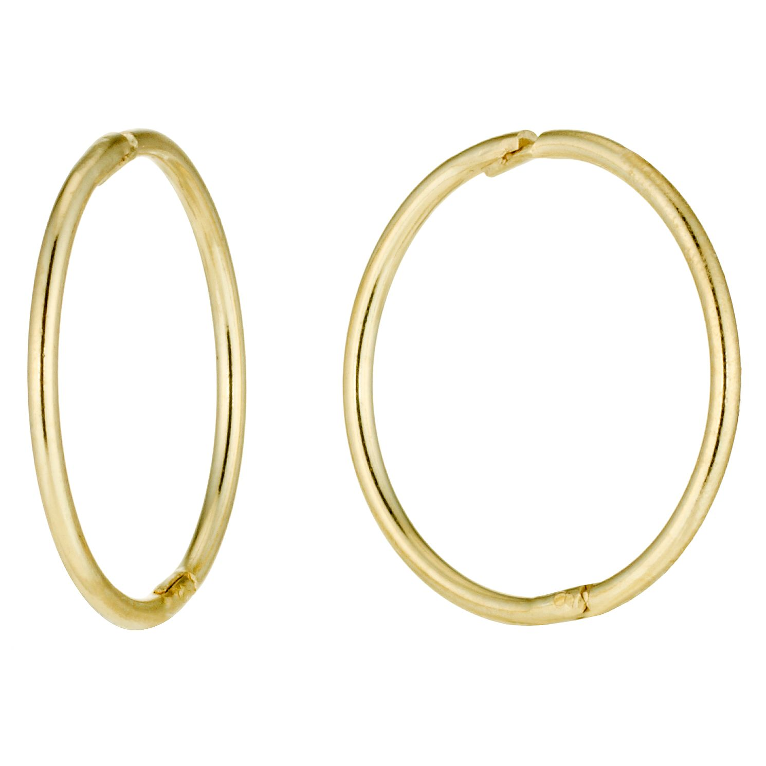 9ct Yellow Gold 12mm Hinged Sleeper Earrings - Product number 2255952