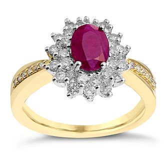 18ct Gold & White Gold Ruby & 0.55ct Diamond Ring - Product number 2256142