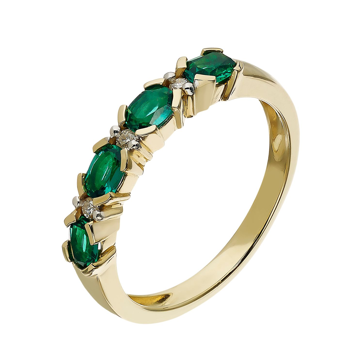 9ct Yellow Gold Created Emerald & Diamond Ring - Product number 2257300