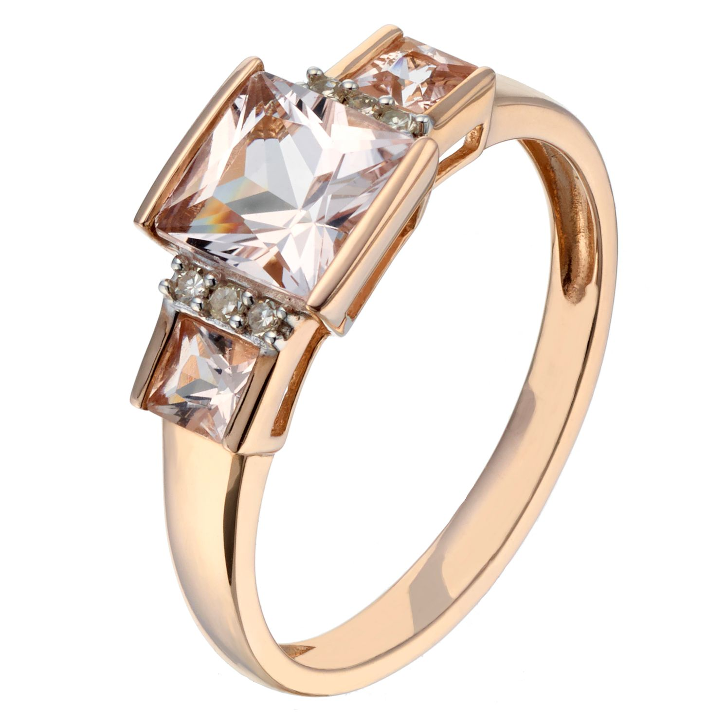 9ct Rose Gold Morganite & Diamond Ring - Product number 2257459