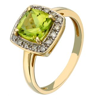 9ct yellow gold peridot and diamond ring - Product number 2258331