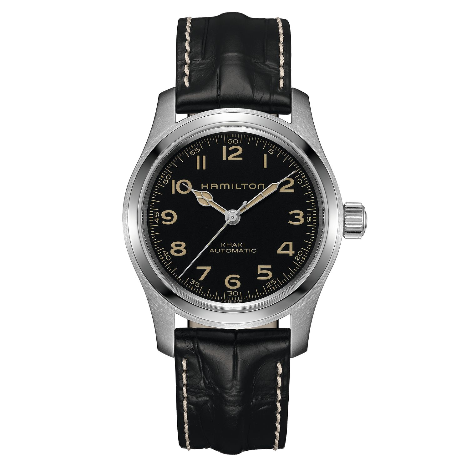 Hamilton Khaki Field Murph Black Leather Strap Watch - Product number 2258722