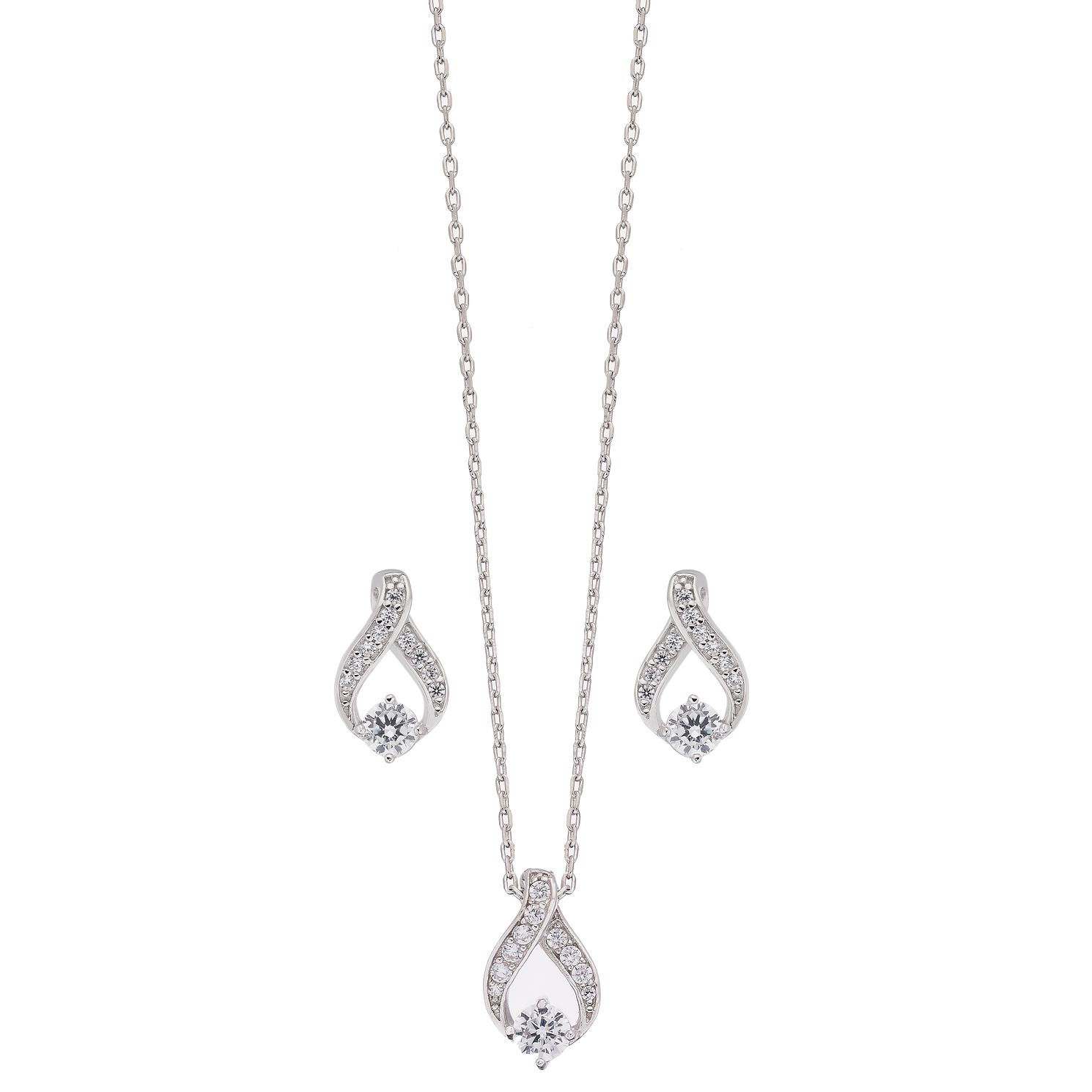 Sterling Silver Cubic Zirconia Earring And Pendant Set - Product number 2259567
