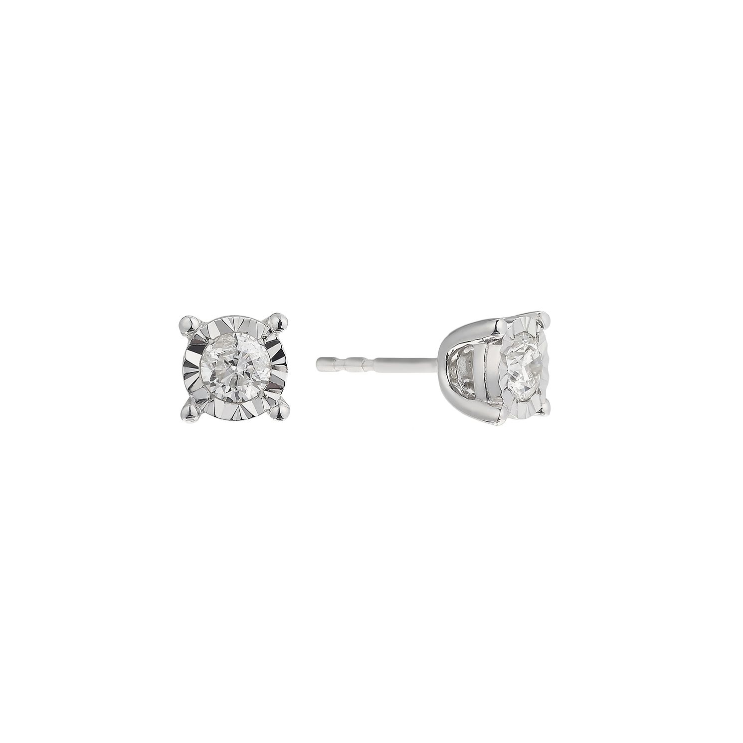 9ct White Gold 0.50ct Diamond Illusion Set Stud Earrings - Product number 2259893