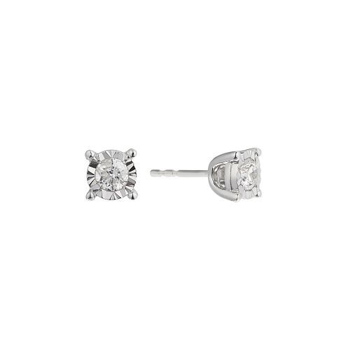 9ct white gold 0.50ct diamond illusion set earrings - Product number 2259893