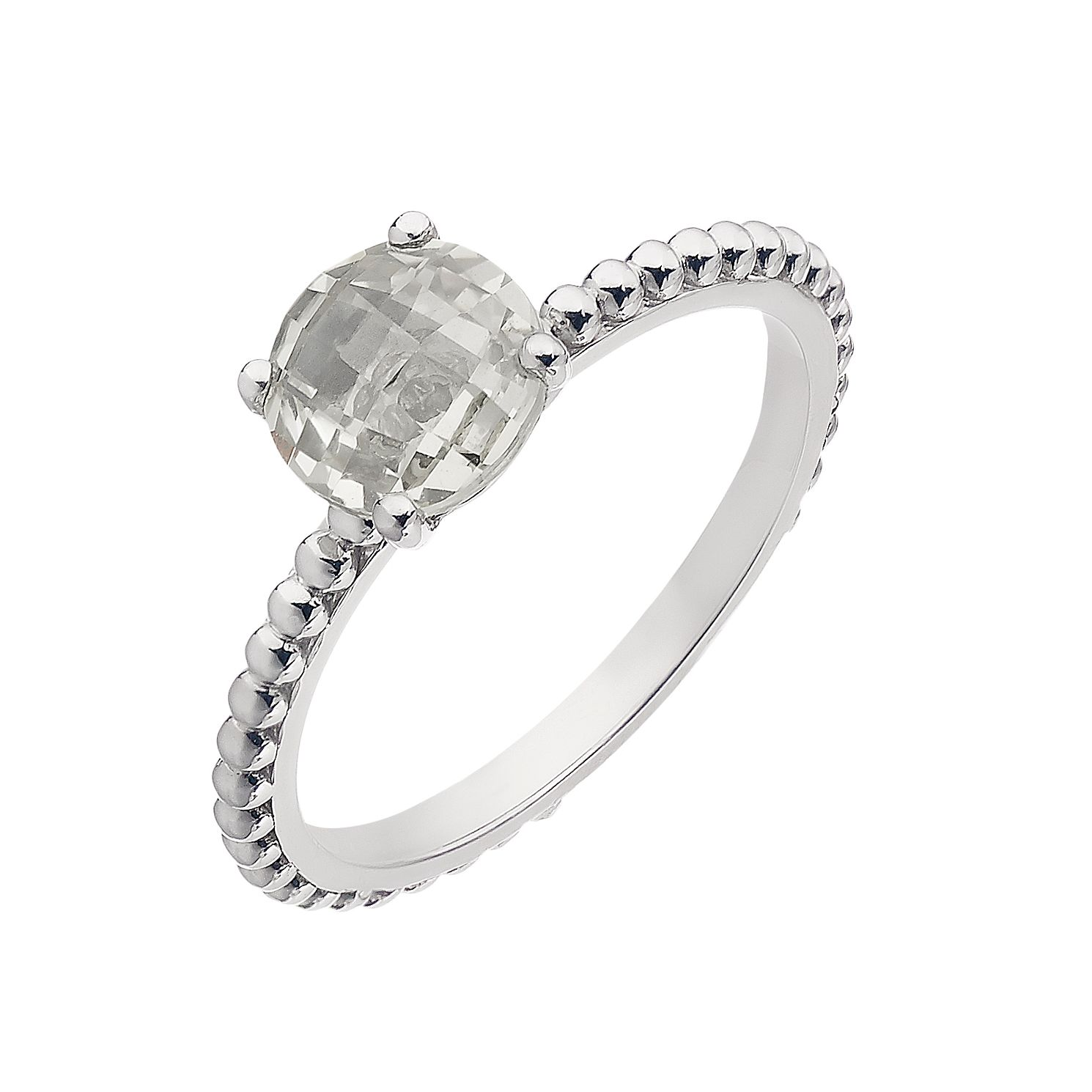 Sterling silver chequered white cubic zirconia claw ring - Product number 2261200