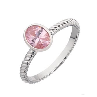 Sterling silver oval light pink cubic zirconia rubover ring - Product number 2261642